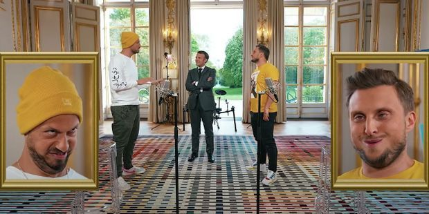 Emmanuel Macron et les youtubeurs McFly et Carlito, le 23 mai.