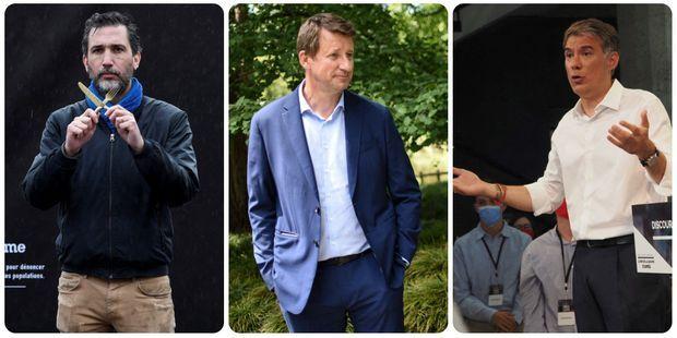 Thomas Ribémont, président d'Action contre la faim, l'écologiste Yannick Jadot et le socialiste Olivier Faure.