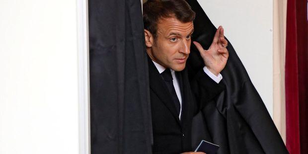 Emmanuel Macron dimanche au Touquet (Pas-de-Calais), où il a voté.