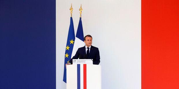 Emmanuel Macron lors de son discours d'hommage aux deux soldats tués.