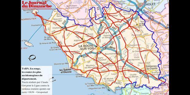 Carte Michelin Vendee.Vendee 85 La Carte Des Routes A La Mortalite La Plus Elevee