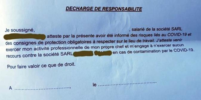 Coronavirus Ces Entreprises Qui Font Signer Des Decharges Aux Salaries Pour Eviter Les Proces